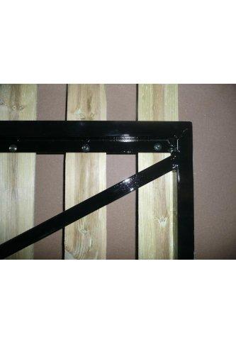 Menuiserie bertin portail cadre acier habillage planchettes 22 x 90 sur men - Habillage poteau portail ...