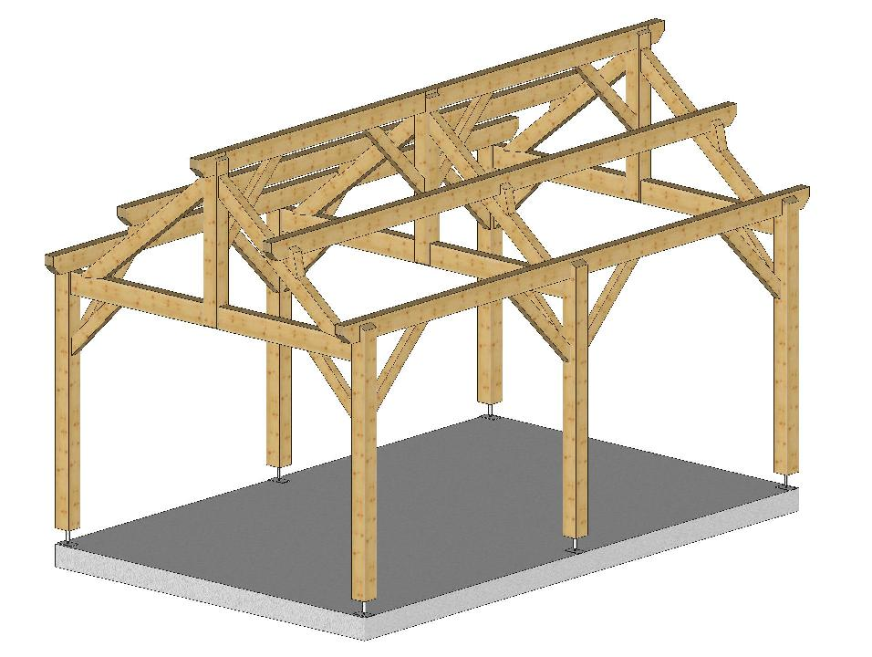 Menuiserie bertin carport 3m50x5m5 2 pentes avec chevrons sur menuiserie be - Carport bois 2 pentes ...
