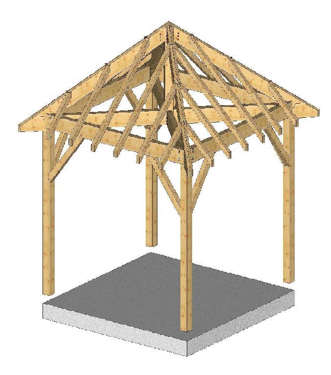 carport 3mx3m 4 pans avec chevrons menuiserie bertin. Black Bedroom Furniture Sets. Home Design Ideas