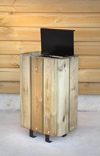 Poubelle rectangulaire habillage bois 30l avec couvercle - Poubelle encastrable 30 litres ...