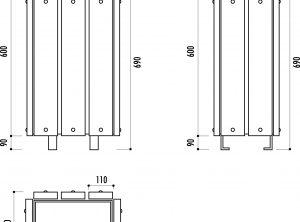 Poubelle rectangulaire habillage bois 30L avec couvercle