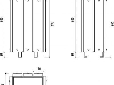 Poubelle rectangulaire habillage bois 30L sans couvercle
