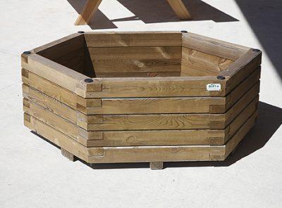 Jardinière mi-bois autoclaves hexagonale 60x70x72