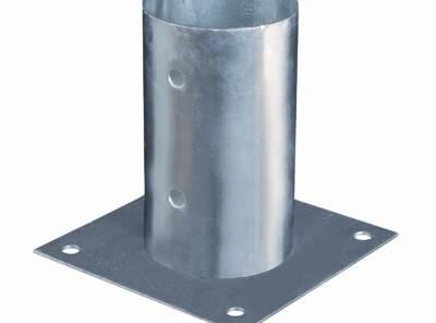Pied de poteau fixe pour poteau rond Ø141