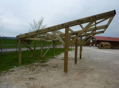 Carport monopente poteaux en Y 6mx6m