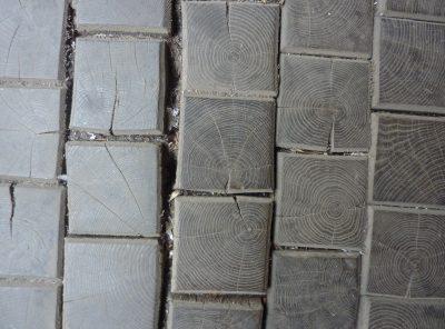 Dallage en cube chêne 10cmx10cm