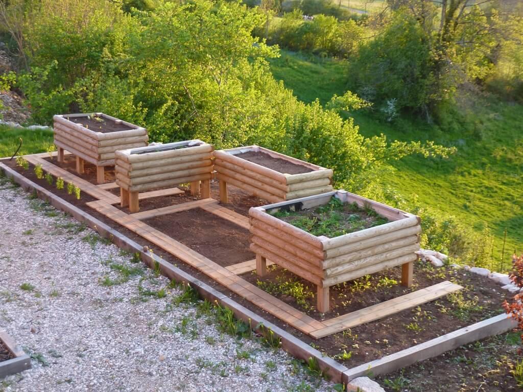 Jardinière En Bois En Hauteur jardinière 1/2 rondins horizontaux 200x100x57 surelevée
