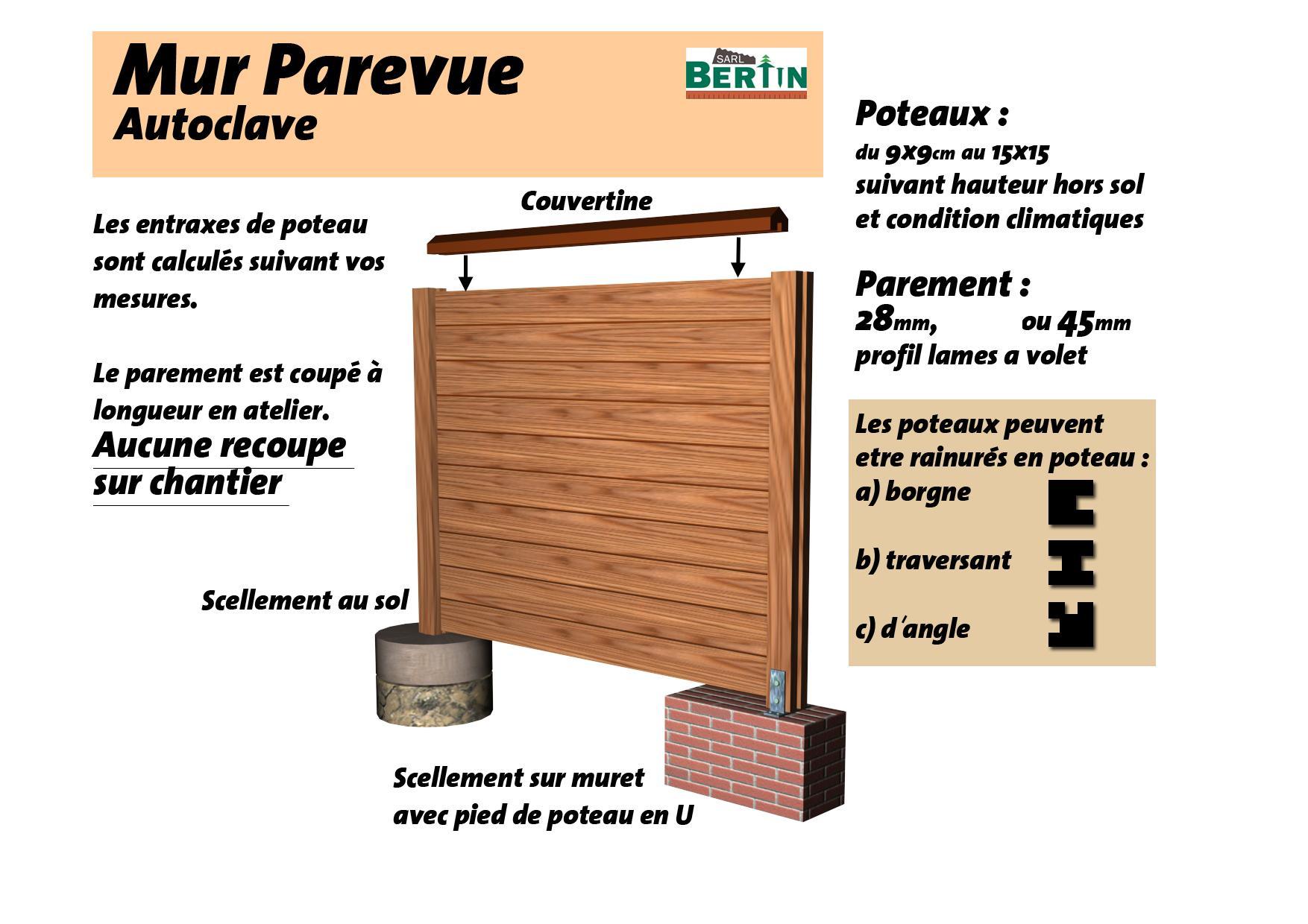 mur pare vue plein au m pleine masse p 27mm poteau 10 10 menuiserie bertin. Black Bedroom Furniture Sets. Home Design Ideas