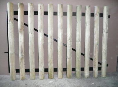 Portail cadre acier habillage ½ ronds Ø 8 cm