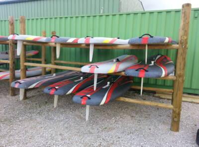 Echelle pour rack bateaux et planches en rondin