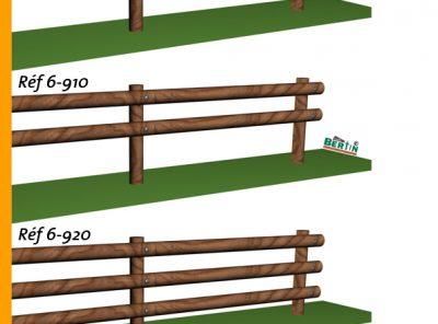 Clôture bois poteau Ø12cm 2m50 3 lisses Ø12cm 3m + ferrure