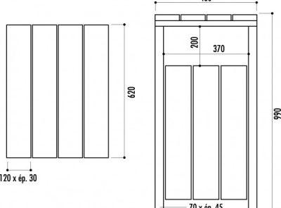 Poubelle pin autoclave rectangulaire 80 litres