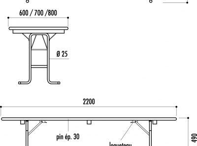 Ensemble table 80×220 cm + 2 bancs