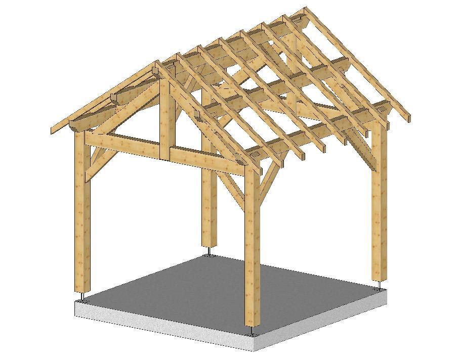 Carport 3mx3m 2 pentes avec chevrons menuiserie bertin - Construire un toit 1 pente ...