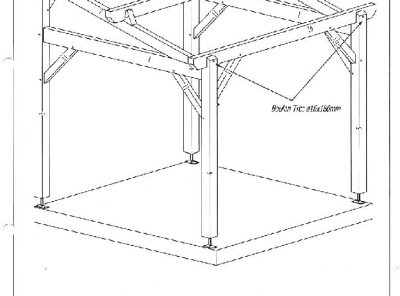 Carport 3mx3m mono pente avec chevrons