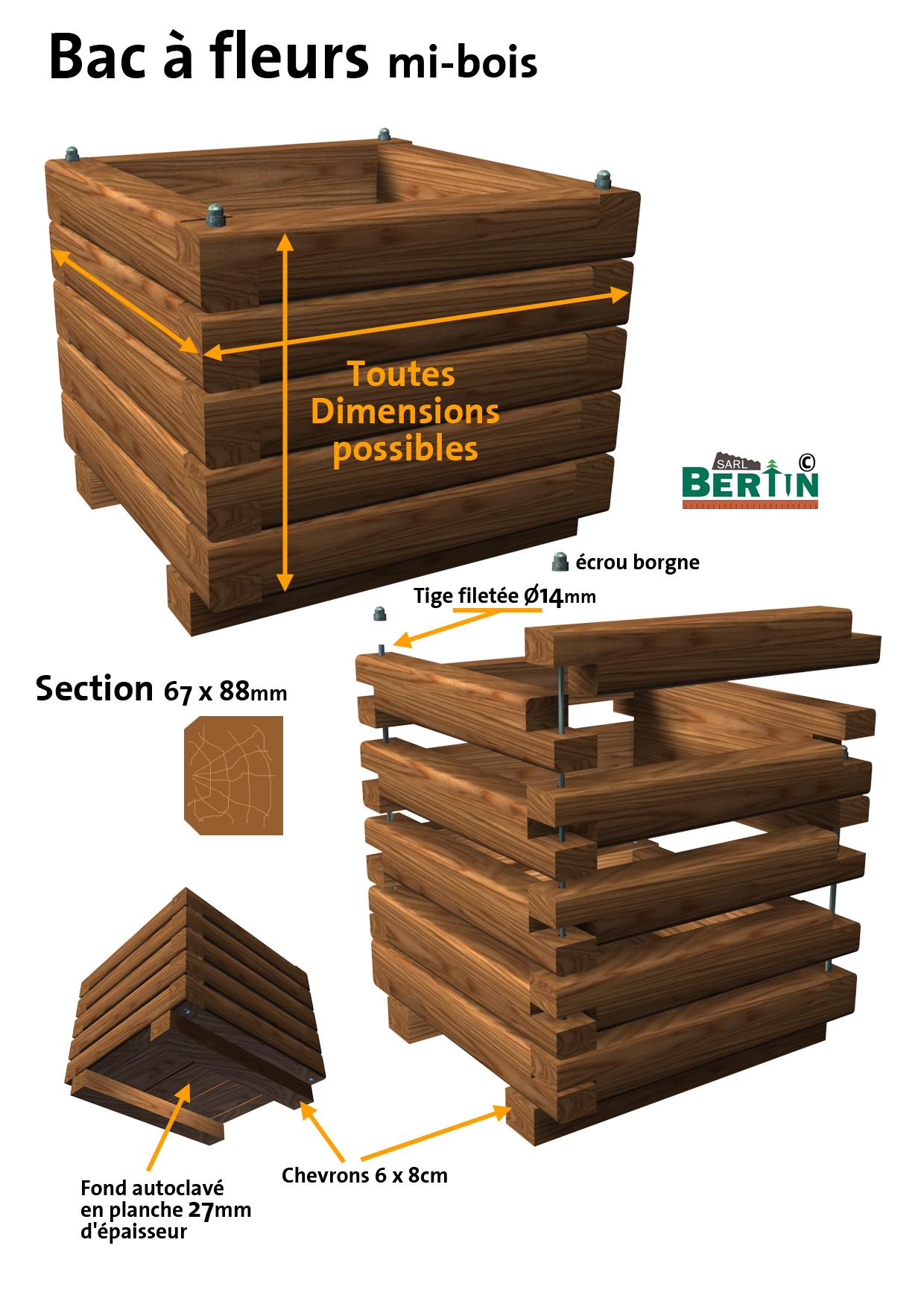 jardini re mibois autoclave 60cmx60cmx53cm menuiserie bertin. Black Bedroom Furniture Sets. Home Design Ideas