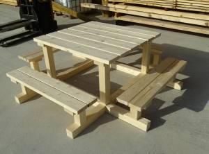Ensemble table banc pique nique carré